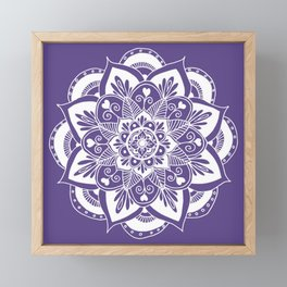 Ultraviolet Flower Mandala Framed Mini Art Print