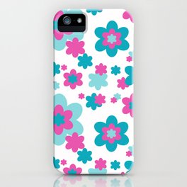 Teal Blue and Hot Pink Floral iPhone Case