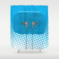 headphones Shower Curtains featuring Headphones by Miguel Villasanta