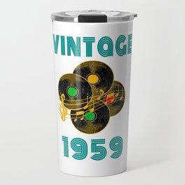 Vintage Vinyl Music 1959 60th Birthday Gift Idea print Travel Mug