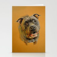 pit bull Stationery Cards featuring American pit bull terrier by Frederica Morgan