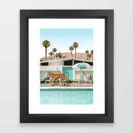 Poolside Tiger Framed Art Print
