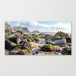 Watergate Bay - Seaweed covered Rocks Canvas Print