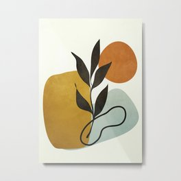 Soft Abstract Small Leaf Metal Print