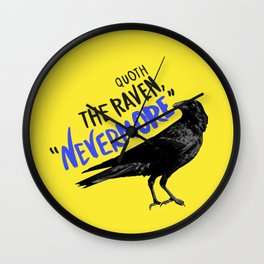 Nevermore Raven - Yellow Wall Clock
