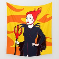 devil Wall Tapestries featuring Devil Flames by Jessica Slater Design & Illustration