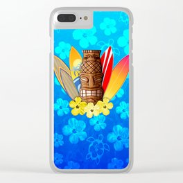 Surfboards And Tiki Mask Clear iPhone Case