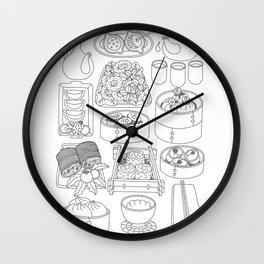 Sunday Dim Sum - Line Art Wall Clock