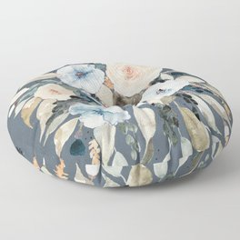Loose Watercolor Bouquet on Blue Floor Pillow
