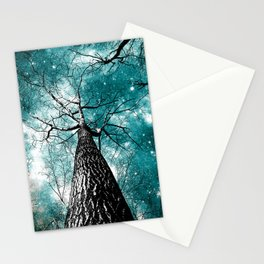 Wintry Trees Galaxy Skies Teal Stationery Cards