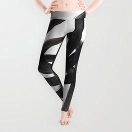 Black And White Minimalist Mid Century Abstract Ink Art Circle Swirls Black Circles Minimal Leggings