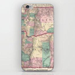 Vintage Map of Washington and Oregon (1875) iPhone Skin
