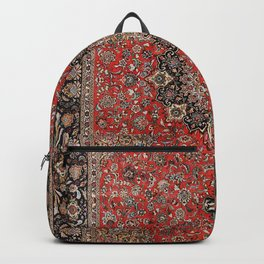 Persia Tabriz Old Century Authentic Colorful Black Burnt Red Vintage Rug Pattern Backpack