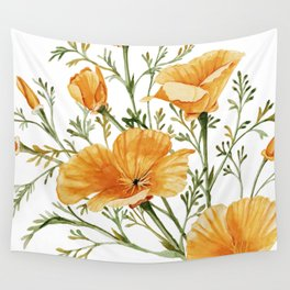 California Poppies - Watercolor Painting Wall Tapestry