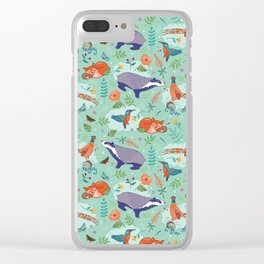 Woodland Animals on Green Clear iPhone Case