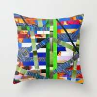 agnes cecile Throw Pillows featuring Agnes (stripes 16) by Wayne Edson Bryan
