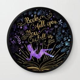Books Fall Open - Gold Wall Clock