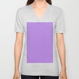 Baby Blue on Lavender Violet Snowflakes Unisex V-Neck