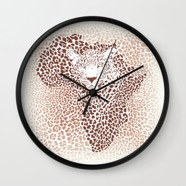 Leopard seamless pattern, vector illustration background with Africa map Wall Clock