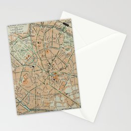 Vintage Map of Milan Italy (1911) Stationery Cards