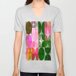 Pink Roses in Anzures 1 Abstract Circles 3 Unisex V-Neck