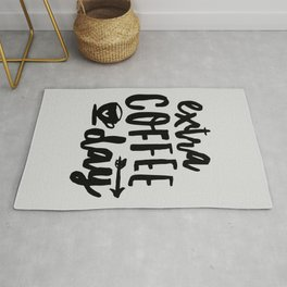 Extra Coffee Day typography print wall art home decor in black and white Rug