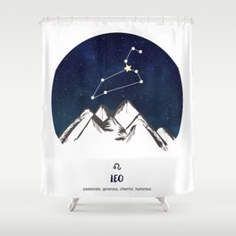 Astrology Leo Zodiac Horoscope Constellation Star Sign Watercolor Poster Wall Art Shower Curtain