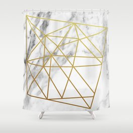 Gold geometric marble Shower Curtain
