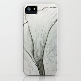 White Calla Lily Drawing iPhone Case