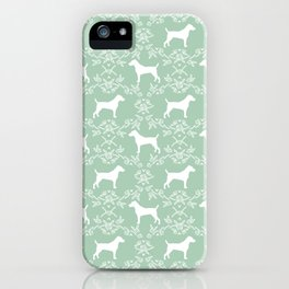 Jack Russell Terrier floral silhouette dog breed pet pattern silhouettes dog gifts mint iPhone Case