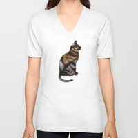 amelie V-neck T-shirts featuring THE TIGER WITHIN by Catspaws