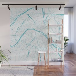 Paris France Minimal Street Map - Turquoise Blue and White Wall Mural
