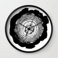 tree rings Wall Clocks featuring Tree Rings by vogel