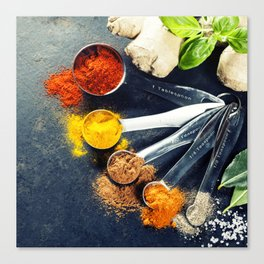 Herbs and spices selection, close up Canvas Print
