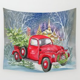 Red Truck With Christmas Tree Wall Tapestry