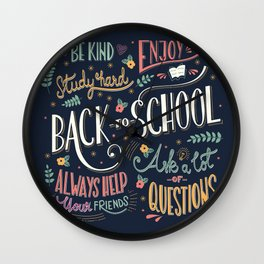 Back to school colorful typography drawing on blackboard with motivational messages, hand lettering Wall Clock