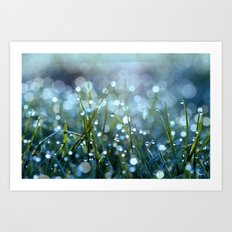 Fairy Drops Aqua Blue Art Print