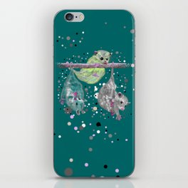 Green possum trio on a branch - Teal iPhone Skin