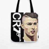 ronaldo Tote Bags featuring Cristiano Ronaldo 007 by Mackenzie Art