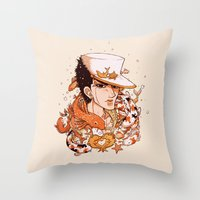 jjba Throw Pillows featuring fishy by vvisti