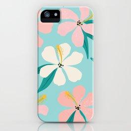 Sweet Tropical Flower Pattern on Sky Blue iPhone Case