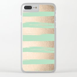 Painted Stripes Gold Tropical Ocean Green Clear iPhone Case