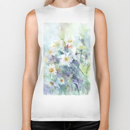 watercolor drawing - white daisies, beautiful bouquet, painting Biker Tank