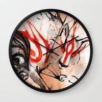 okami Wall Clocks featuring Okami Amaterasu Ink by Rubis Firenos