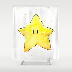 Invincibility Star Mario Watercolor Geek Gamer Art Shower Curtain
