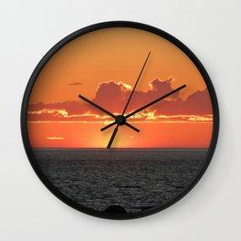 Orange sunset on the sea Wall Clock