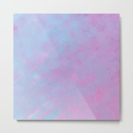 Abstract Pink Lilac Teal Watercolor Brushstrokes Bokeh Metal Print