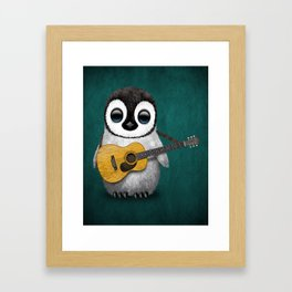 Musical Baby Penguin Playing Acoustic Guitar on Teal Blue Framed Art Print