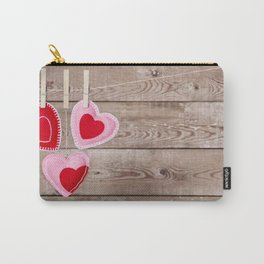 I - Clothesline with Valentine's Day hearts decorations on a rustic background Carry-All Pouch