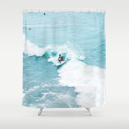 Wave Surfer Turquoise Shower Curtain
